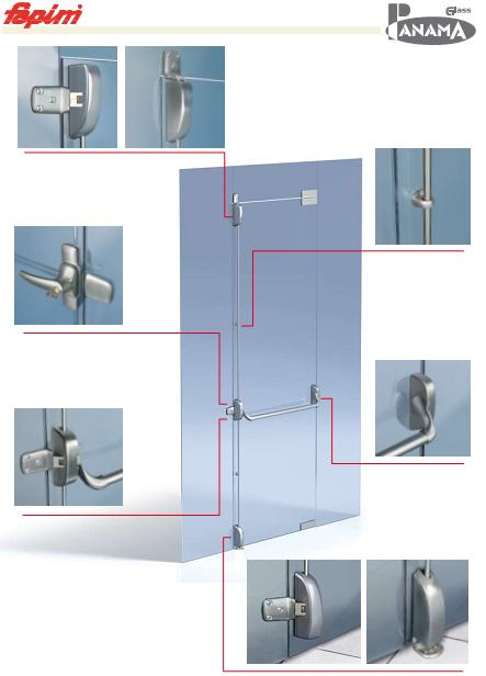 Система Антипаника Fapim Panama Glass для стеклянных дверей